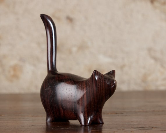 Small Wooden Martha Cat Sculpture, Hand Carved From Dark Indian Rosewood by Perry Lancaster
