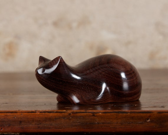 Dark Crouching Cat Hand Carved From Genuine Indian Rosewood Wood by Perry Lancaster, Cat Sculpture, Tactile Wooden Cat Carving