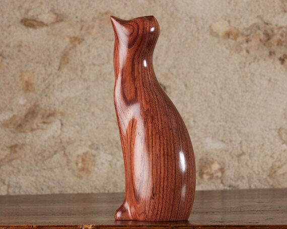Twisting Cat Figurine Sculpture Carved From Honduras Rosewood Wood by Perry Lancaster, Handmade Twisted Tabby Cat Figurine Ornament