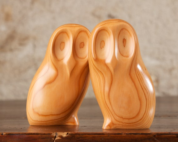 Two Wooden Owls Hand Carved From European Yew Wood by Perry Lancaster, Abstract PJL Owl Sculpture, Natural Stress Relief jf Carving
