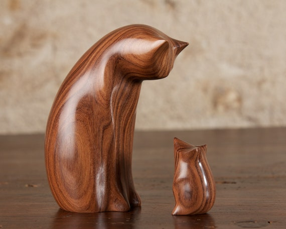 Cat and Mouse Carved From Santos Rosewood by Perry Lancaster, Minor Imperfection in the wood