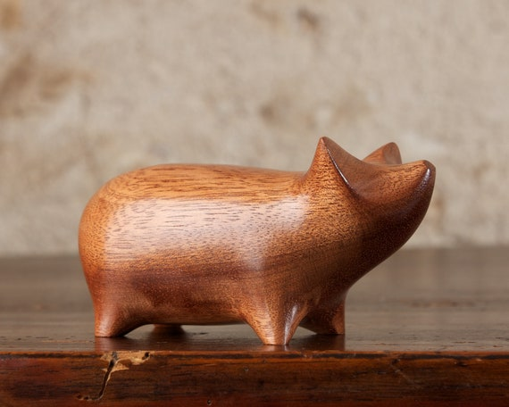 Wooden Pig Sculpture Hand Carved From African Mahogany Wood by Perry Lancaster, Authentic PJL Pig Carving Figurine