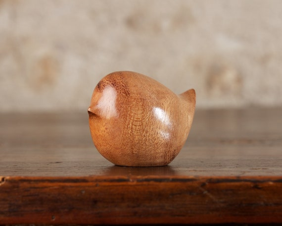Small Wooden Round Bird Carving Sculpture, Hand Carved From Curly Moabi Wood by Perry Lancaster, Little Wren Figurine