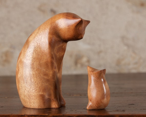 Cat and Mouse Carved From Curly Moabi Wood by Perry Lancaster, Wooden Cat Statue Cat Figurine Original Authentic Design