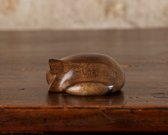 Small Curled Sleeping Tabby Cat Carved From Dark Imbuya Wood by Perry Lancaster, Wooden Cat Sculpture Smooth Pebble Natural Stress Relief