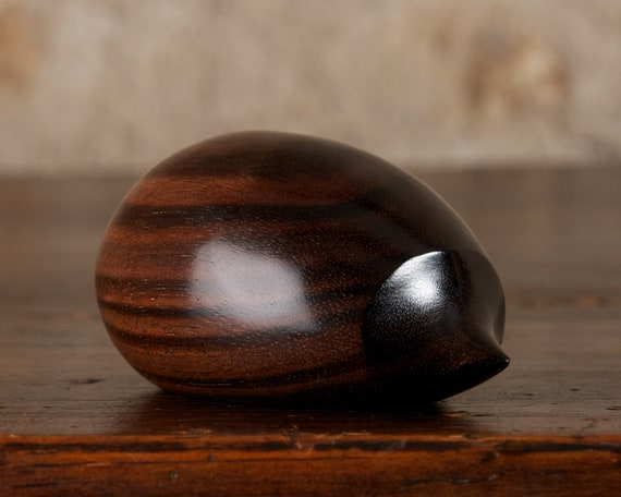 Small Wooden Hedgehog Sculpture Hand Carved From Macassar Ebony by Perry Lancaster, Original Tactile Stress Relief Contemporary Design