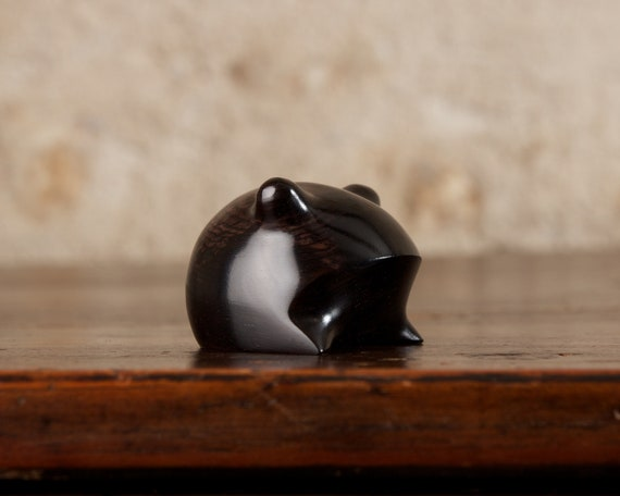 Small Wooden Frog Carved From African Blackwood Clarinet Wood by Perry Lancaster, Original Authentic Handmade Abstract Black Frog Design