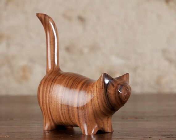 Martha Cat Sculpture Hand Carved From Santos Rosewood Wood by Perry Lancaster