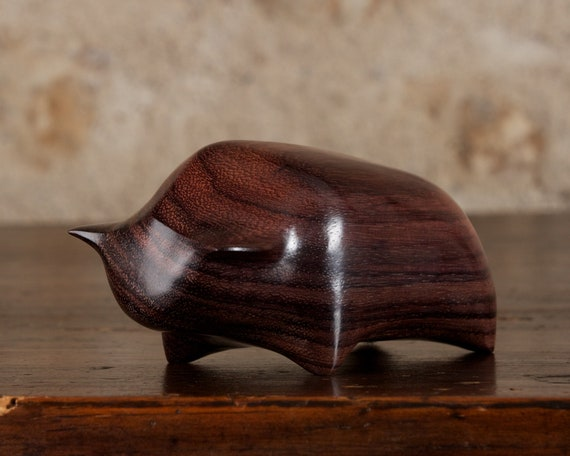 Small Toro Bull Sculpture Hand Carved From Dark Sonokeling Rosewood by Perry Lancaster, Bull Wood Figurine