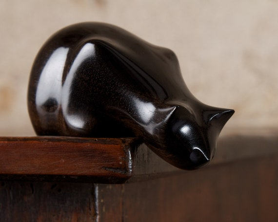 Wooden Peeping Tom Cat Sculpture Carved From Black FSC African Ebony Wood by Perry Lancaster, Imperfect