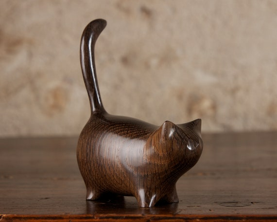 Small Black Cat, Wooden Martha Sculpture Carved From Ancient Old English Bog Oak by Perry Lancaster, Handmade Wood Cat Figurine Statue