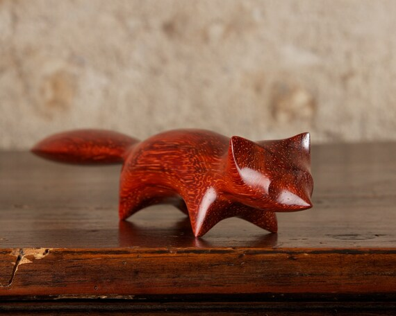 Small Red Fox Sculpture Hand Carved From Padauk Padouk Wood by Perry Lancaster, Original Handmade Stylised Fox Carving Design, Imperfect