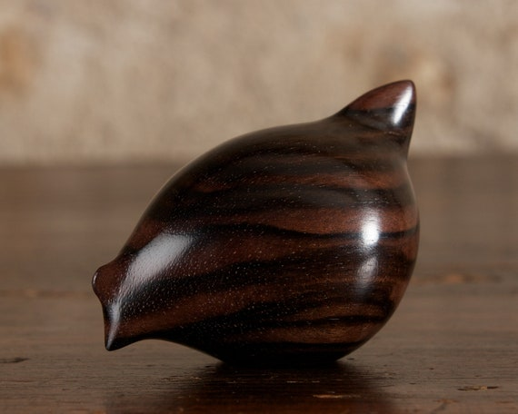 Fat Black Hen Hand Carved From Macassar Ebony Wood by Perry Lancaster, Original Stylised Chicken Sculpture Wooden Chick Figurine