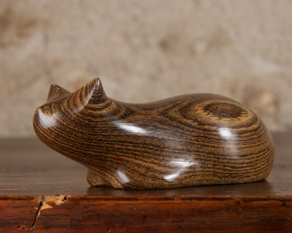 Crouching Cat Hand Carved From Mexican Rosewood Bocote Wood by Perry Lancaster, Abstract Cat Sculpture Wooden Cat Figurine