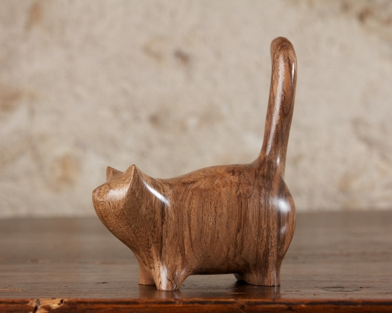 Wooden Martha Cat Sculpture Hand Carved From French Walnut Wood by Perry Lancaster, Handmade Classic Original Cat Design Artisan, Imperfect