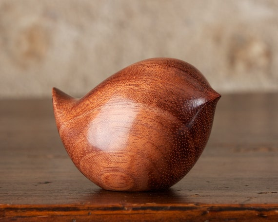 Wren Bird Sculpture, Wooden Bird Figurine Hand Carved From Butterfly Tree Mopane Wood by Perry Lancaster, Tactile Pebble