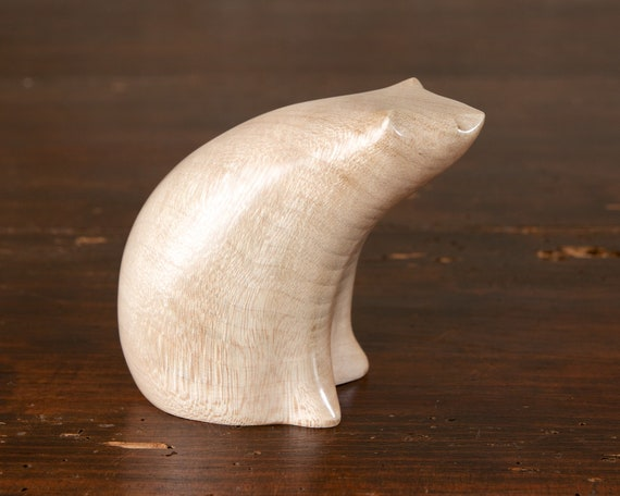 Small Polar Bear Sculpture Hand Carved from British Sycamore Wood by Perry Lancaster, Tactile Wooden Bear Figurine