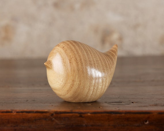 Small Wooden Bird Carving, Hand Carved FromFrench Acacia Wood by Perry Lancaster, Fat Round Wren