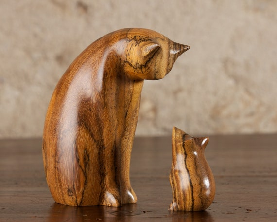 Cat and Mouse Sculpture Carved From Bocote Mexican Rosewood by Perry Lancaster, Original Contemporary Handmade Wood Design