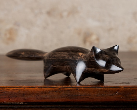 IMPERFECT Black Fox Sculpture Hand Carved From African Ebony Wood by Perry Lancaster, Original Carving Design Handmade Genuine Craft