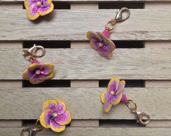 "Handmade ""Pink and Yellow Hawaiian Flower"" Progress Keeper, Stitch marker, Zipper Pull, Removable Stitch Marker, Key Chain"