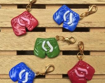 "Handmade ""Swimming Shorts"" Progress Keeper, Stitch marker, Zipper Pull, Removable Stitch Marker, Key Chain"
