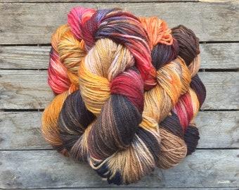 """Handdyed Organic Yarn, """"Tia Dalma"""" Yarn, 100% Organic South American Merino Wool"""