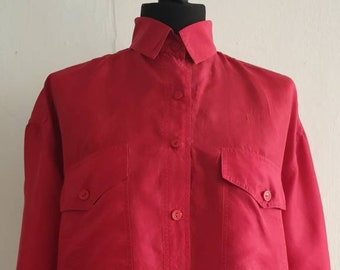 Silk Candy Red Button Front Shirt Crimson Red Blouse Shirt Secretary/'s Blouse Long Sleeves Office Formal Wear Shirt Hipster Size Large