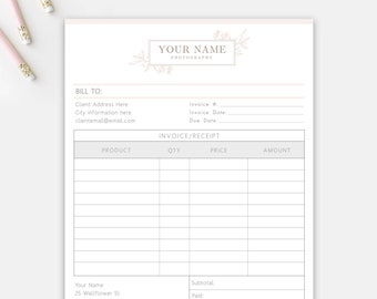 Photography Invoice Etsy