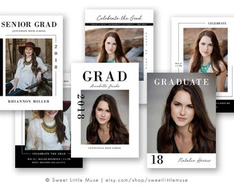 senior graduation announcement template bundle modern senior etsy