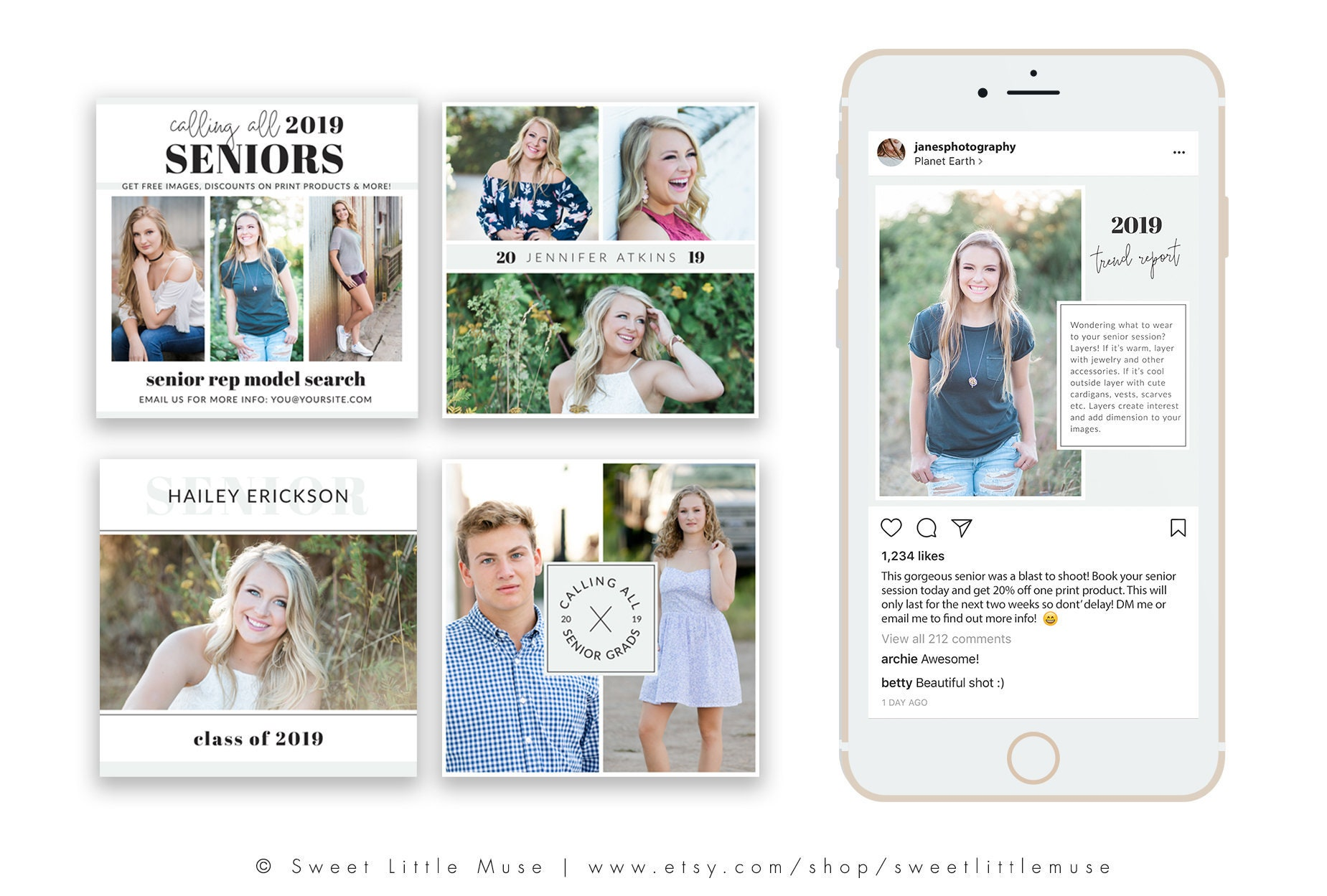 Instagram Templates - Social Media Templates for Senior Photographers -  Instagram Template Bundle - Instagram Grid Templates