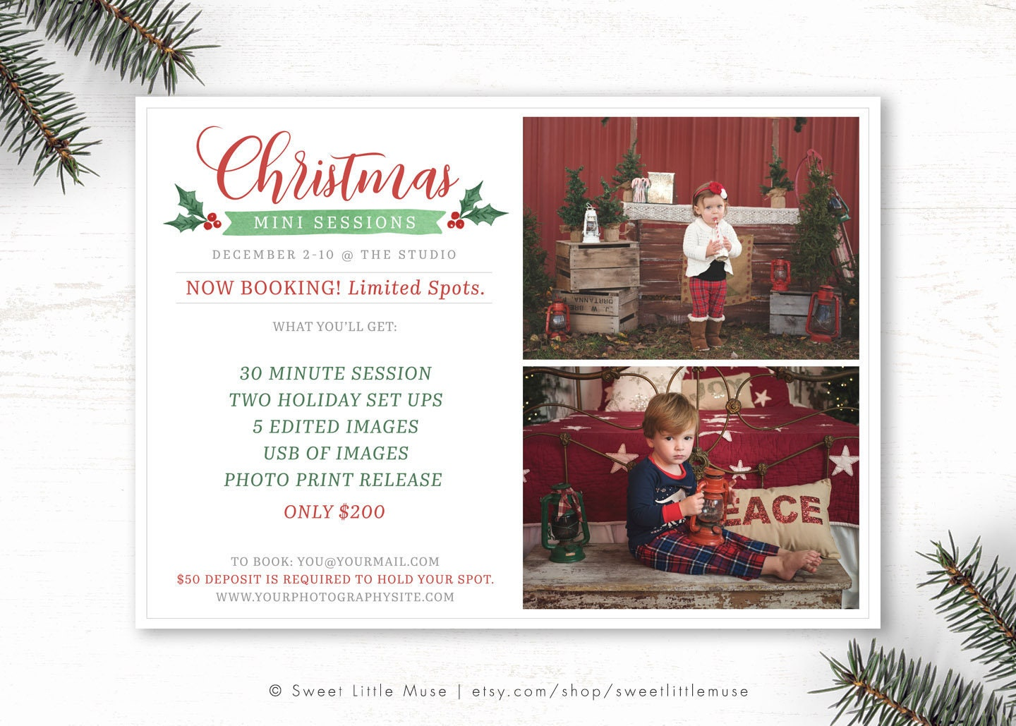Christmas mini session template Holiday mini session | Etsy
