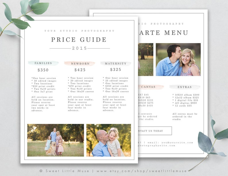 Photography Price List Template - Photography Pricing Guide - Photography  Sell Sheet - Pricing Template for Photographers
