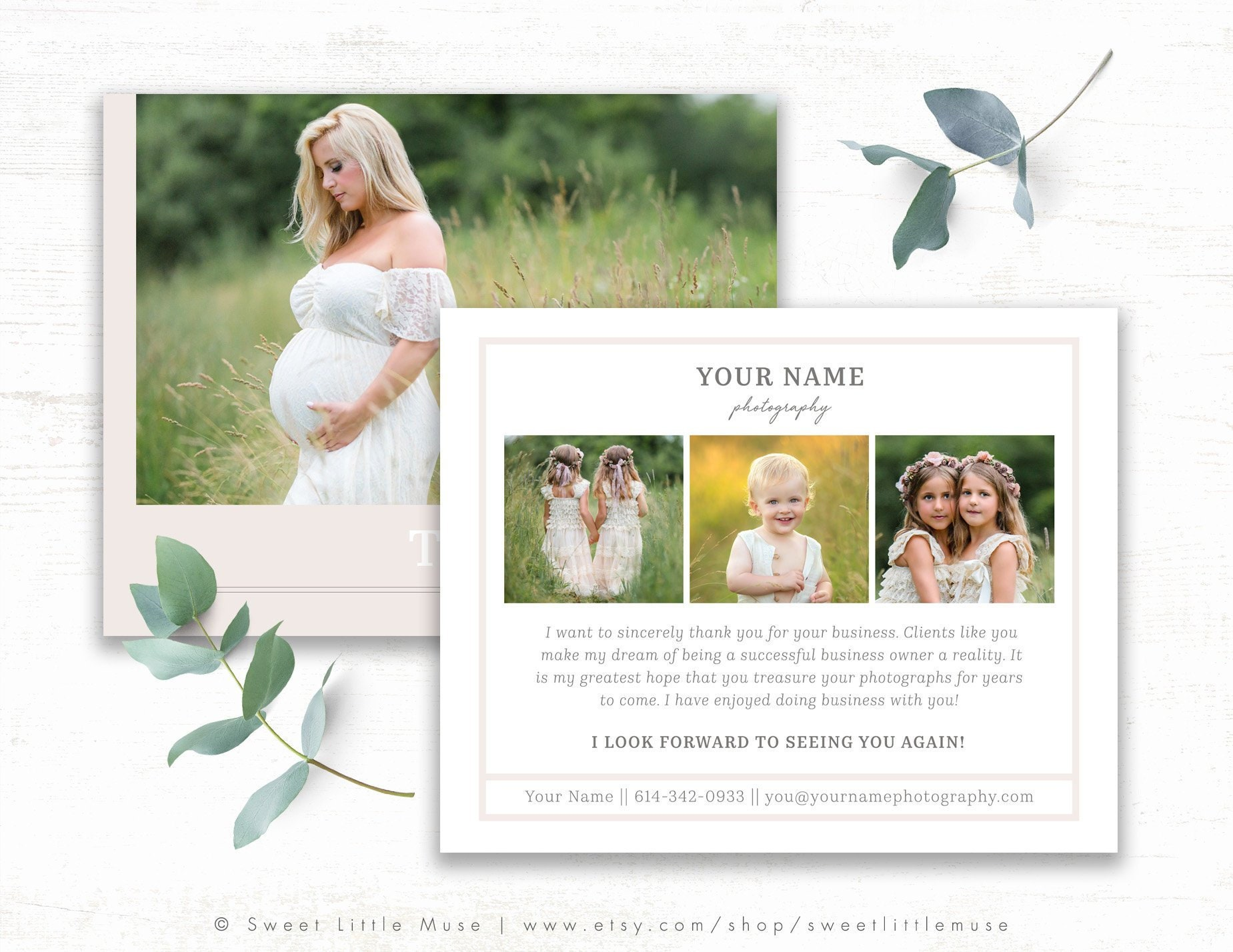 Photography Thank You Card Template Thank You Card Template Etsy