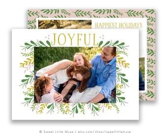 Christmas card template - Holiday card template - Hand Drawn Christmas Card