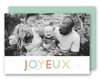Modern Holiday card template, 5x7 holiday card template, Noel holiday card template