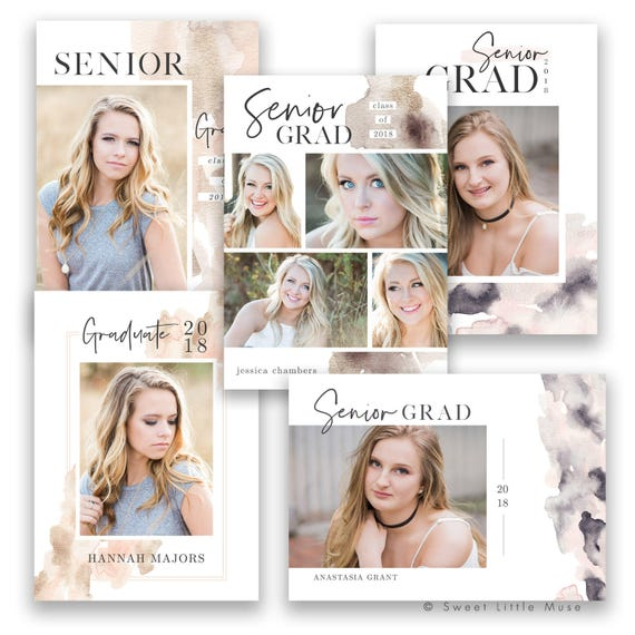 Senior Graduation Announcement Template Bundle Graduation Etsy