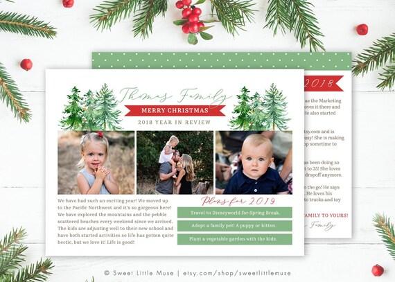 Christmas Card Template For Photographers Christmas Tree Etsy