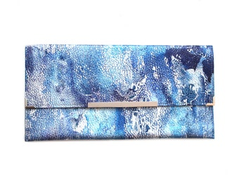 Unique Blue Leather Clutch Bag, Handmade Purse. Painted Leather.