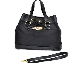 75461c05461c7 Moschino by Redwall Black Nylon - Leather Drawstring Bag Handbag - rare