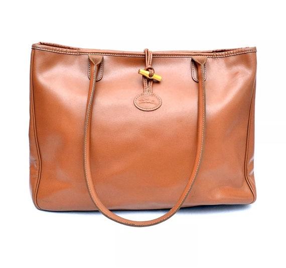Longchamp Roseau Leather Tote Shopper Bag Authentic   Etsy 837d15fe97