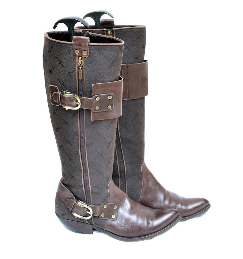 17a9e217a5f8 Cesare Paciotti Women s Knee High Cowboy Monogram Boots