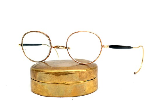 Algha Gold Filled Vintage Round Eye Glasses Specta
