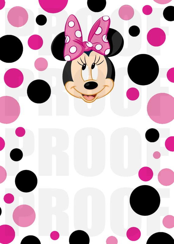 minnie mouse birthday invitation background template etsy