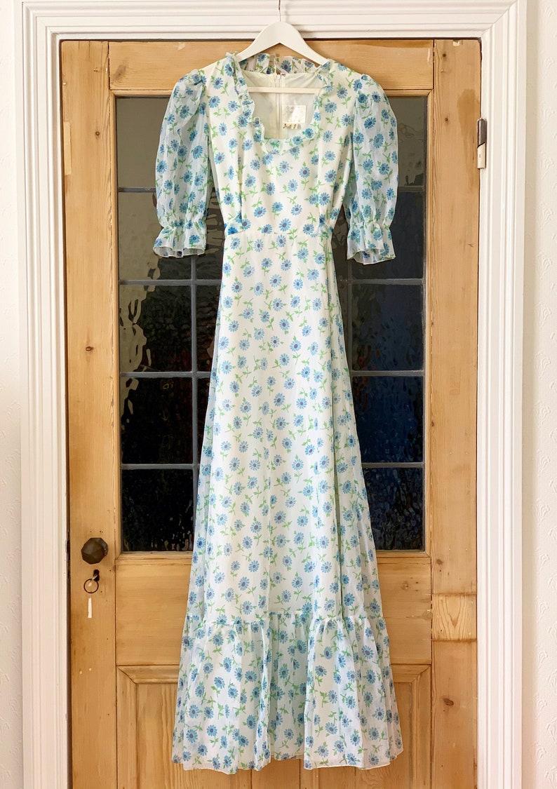 1970s Vintage Floral Print Puff Sleeve Prairie Dress by image 1