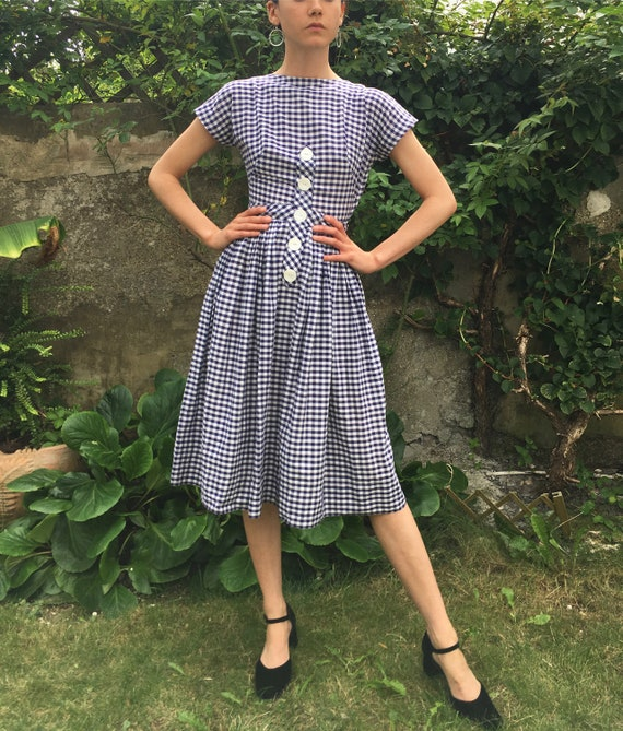 Early 1950s Vintage Carole King Gingham Check Dres