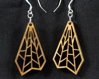 Wood Earrings, Canarywood with Silver Plated Hooks