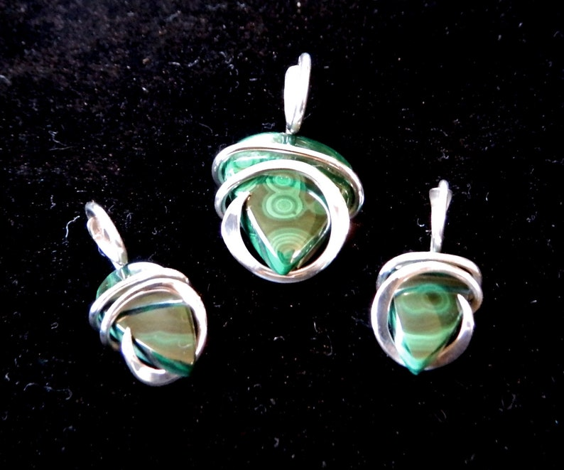 Earring SET Malachite Stone PENDANT Cold Forge Wrapped in  Sterling Silver Wire
