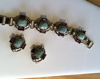 Faux turquoise and amethyst bracelet earring set