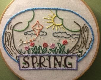 Happy spring wall hoop art